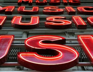 music neon letters